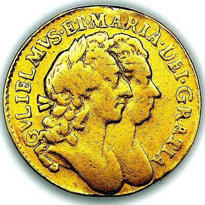 1692 William and Mary Great Britain Gold Half 1/2 Guinea Coin