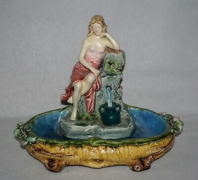 Antique Majolica Small Centerpiece, Woman at Well