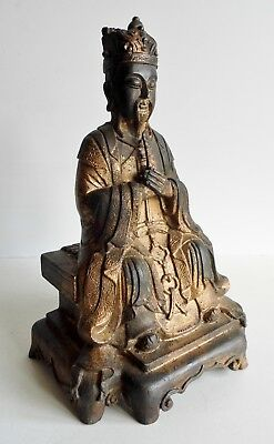 Wonderful Rare Old Chinese Bronze Temple God / Buddha Statue - Traces Of Gilding