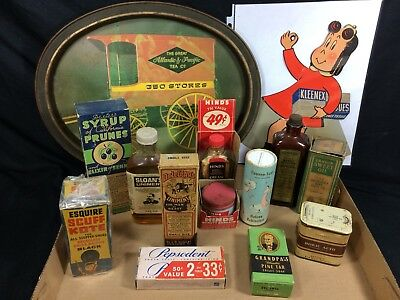 Grandma's Bathroom Beauty Medicine Cabinet Lot - Vintage Pharmacy Apothecary Adv