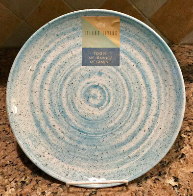 Island Living Speckled Swirl Blue u0026 White Melamine 11  Dinner Plates ... & ISLAND LIVING SPECKLED Swirl Blue u0026 White Melamine 11