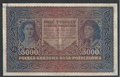 POLAND  5000  MAREK   1920   P 31   CIRCULATED=XF  Repaired on the Top-Left