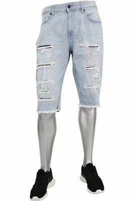 9524d755bad3 MEN S JORDAN CRAIG ice blue sand shredded denim legacy shorts style ...