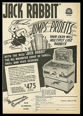 1946 Amusematic Jack Rabbit coin-op arcade game machine photo vintage print ad