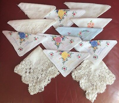 Collection 12 Vintage Handkerchiefs Embroidered & Lace Edged