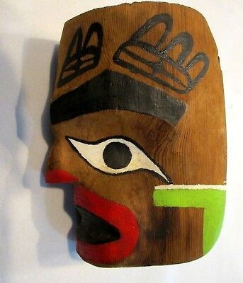 """Small Native American Pacific Northwest Painted Wooden Mask 6"""" x 5"""" x 3"""""""