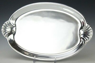 "16 3/4"" Wilton Armetale Cast Pewter Clam Shell Handle Serving Platter Tray GIT"