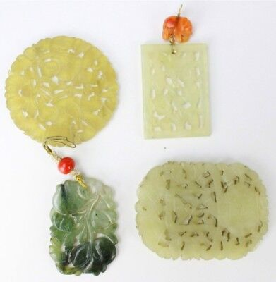 Vintage Lot Of 4 Chinese Export Carved Pierced Green Jade Floral Pendants NR SMS