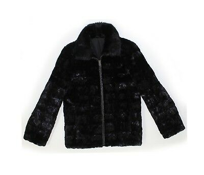 713620 New Mens Black Mink Fur Sections Bomber Jacket Coat Stroller S Small