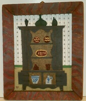 """'Old Cupboard"""" M/M Folk/Outsider Art Painting/Collage-1970s-Paul Nickel/Welsh"""