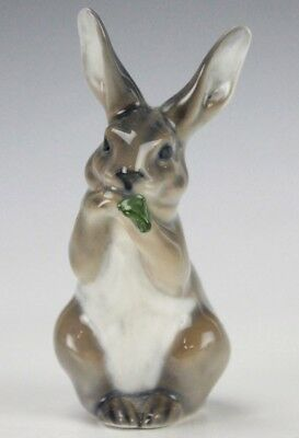 Vintage Royal Copenhagen Gray Rabbit Eating Lettuce Porcelain Figurine 1019 GLP