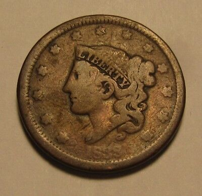 1838 Coronet Head Large Cent Penny - Circulated Condition - 58SA