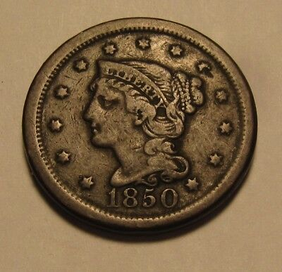 1850 Braided Hair Large Cent Penny - Very Fine Condition - 59SA