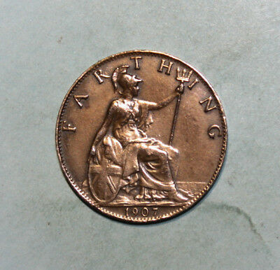 Great Britain 1 Farthing 1907 Extremely Fine Coin - King Edward VII