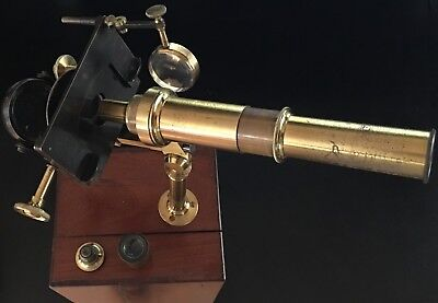 1840s French Lacquered Brass Chevallier-Type Top-Mounted Microscope