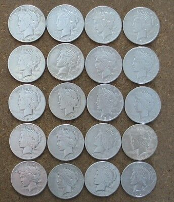 Roll (20 Coins)  1934-S Peace Silver Dollars.. Higher Grades