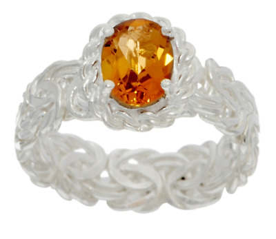 Silver Style Sterling Silver 1.00 Ct Citrine Byzantine Band Ring Size 7 Qvc