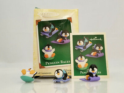 Hallmark Miniature Ornaments 2005 Penguin Races - 3 Mini's in Set - #QXM8155-DB