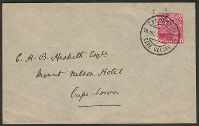 Cape of Good Hope 1900 Mountain 1d Local Cover to Mount Nelson Hotel, Cape Town