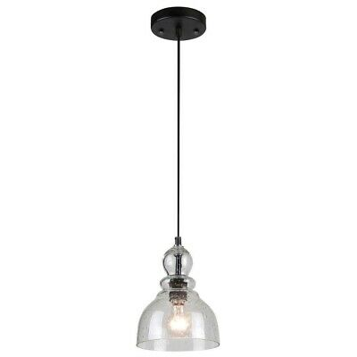 Westinghouse 1Light Oil Rubbed Bronze Mini Pendant Hand Blown Clear Seeded Glass