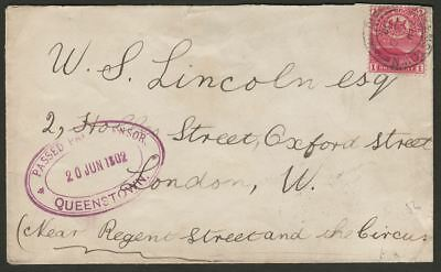 Cape of Good Hope 1902 Mountain 1d Cover to UK PASSED PRESS CENSOR QUEENSTOWN