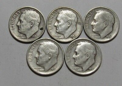 Lot of (5) 1951 S Roosevelt Dime - Circulated Condition - 77SA