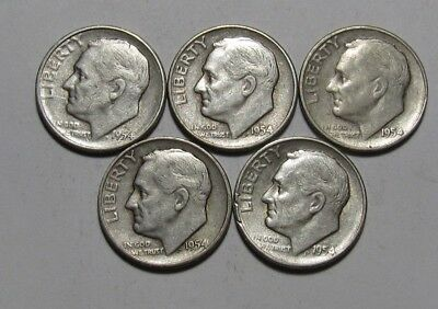 Lot of (5) 1954 S Roosevelt Dime - Circulated Condition - 80SA