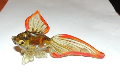 "VINTAGE BLOWN GLASS FISH FIGURINE MULTI-COLOR 4"" long 21/2"" tall 1"" wide"