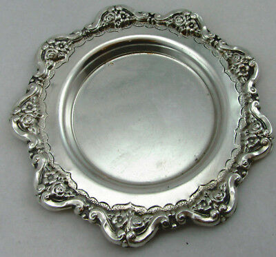 Sterling Silver 925 Round Mini Tray With UNIQUE FLORAL PATTERN 38 GRAMS