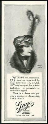 1920 tall feather hat woman art Gage Brothers hats vintage fashion print ad