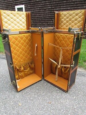 ANTIQUE FRENCH signed GOYARD WARDROBE STEAMER TRUNK with CLEAN INTERIOR