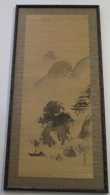Antique Japanese Scroll Painting Signed Mystery Artist Expressionist Chop Mark