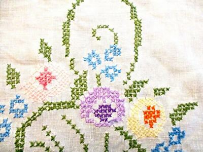 "32"" ROUND Tablecloth Embroidered Cross Stitch Flowers"