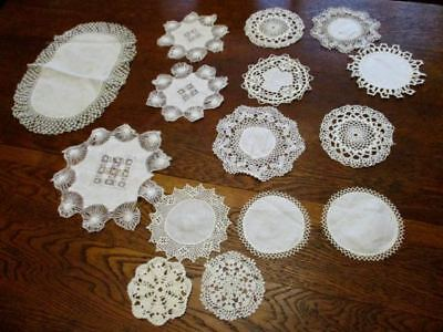Lot 16  ROUND Vintage String Crochet Hairpin Lace Doilies Coasters