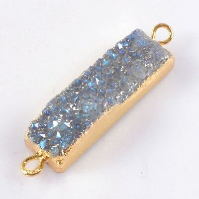 Natural Agate Titanium Druzy Connector Gold Plated H114937