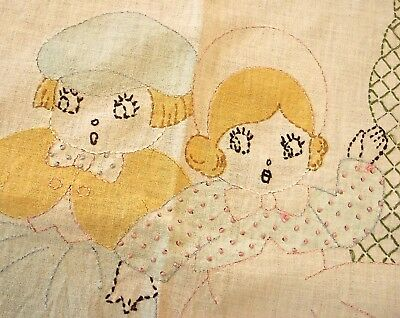 """Vintage Infant Crib Quilt Cover Hand Embroidered 56"""" by 42"""""""