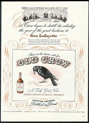 1947 Old Crow Bourbon Whiskey black bird General Lafayette art vintage print ad