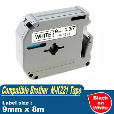 Compatible Brother P-touch MK221 M-K221 Tape 9mm x 8m Black On White PT-55 PT-80