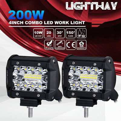 Pair 4Inch 200W LED Work Light Pod Spot Flood Combo Driving Lamps JEEP Ford