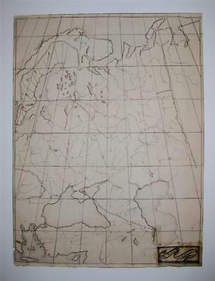 BIG 1860 INK HAND DRAWN MAP of RUSSIA SIGNED C. E. BECKE in ENGLISH LANGUAGE,