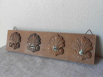 French Vintage Wood TOWEL RACK holder - 4 metal hooks on acanthus -