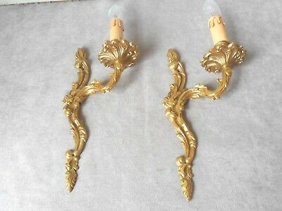 PAIR of Vintage French solid brass Elegant WALL Light SCONCES