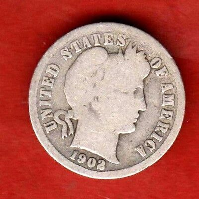 1902 P    Barber Silver Dime  Good Condition
