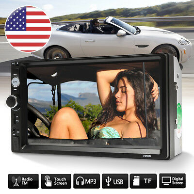 """7"""" Touch Screen 2 Din Car MP5 Player Bluetooth Stereo Radio FM W/ Backup Camera"""