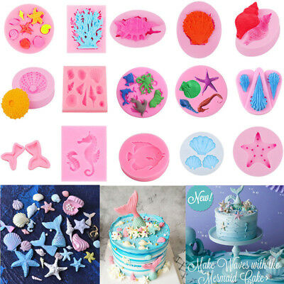 3D Silicone Beach Sea Shells Summer Cake Mould Decoration Fondant Icing Mold