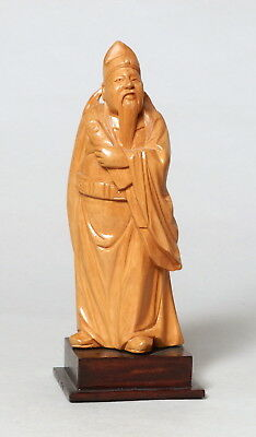 Beautiful Vintage Chinese Carved Boxwood Wooden Figure Scholar #2