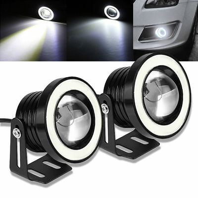 "2X COB 2.5/3/3.5"" Universal Projector LED Fog Lights Lamps Halo Angel Eyes Rings"