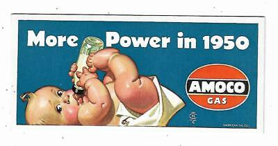 Old Advertising Card AMOCO GAS More Power In 1950 Baby Bottle American Oil Co