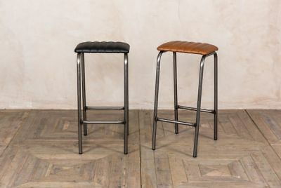 Ribbed Lab Stool Backless Bar Stool Faux Leather Breakfast Stool Black Or Tan