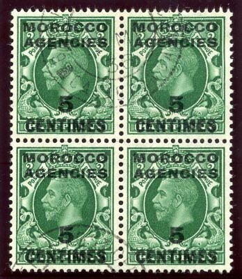 Morocco Agencies 1935 KGV 5c on ½d green in a block of four VFU. SG 216. Sc 426.
